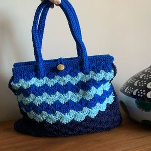 Vintage Knit Ombré Blue Purse Psychedelic Print